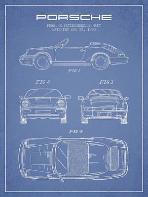 Porsche Patent From 1990 - Light Blue Poster