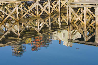 Port Clyde Maine Lobster Traps Reflecting In Water Poster by Keith Webber Jr