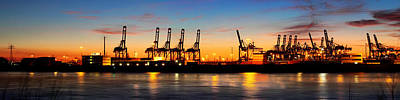 Port Of Hamburg Panorama Poster by Marc Huebner
