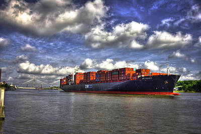 Port Of Savannah Shipping Lanes Poster by Reid Callaway