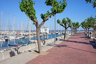 Port Olimpic Promenade In Barcelona Poster