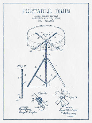 Portable Drum Patent Drawing From 1903 - Blue Ink Poster