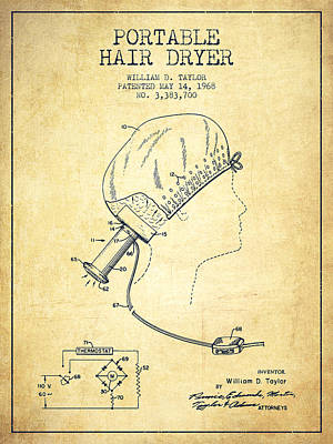 Portable Hair Dryer Patent From 1968 - Vintage Poster by Aged Pixel