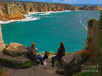 Porthcurno Bay And Logan Rock Poster by Louise Heusinkveld