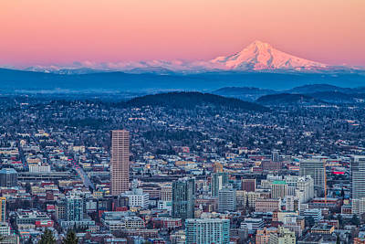 Portland And Mt Hood Poster by Patricia Davidson