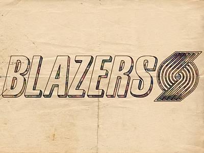 Portland Blazers Logo Poster Poster by Florian Rodarte