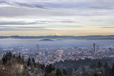 Portland Downtown Foggy Cityscape Poster