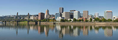 Poster featuring the photograph Portland Downtown Waterfront Skyline Panorama by JPLDesigns