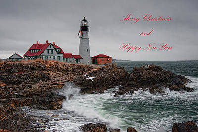 Poster featuring the photograph Portland Head Light At Christmas by Richard Bean