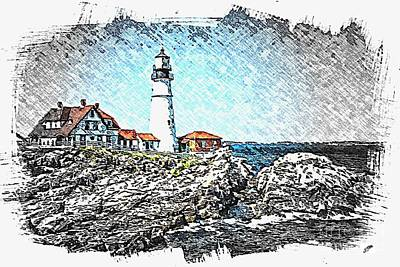 Portland Head Light Poster by Spencer McKain