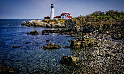 Portland Headlight 37 Oil Poster by Mark Myhaver