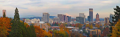 Portland Oregon City Skyline And Mount Hood Poster