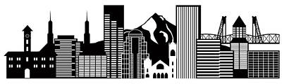 Portland Oregon Skyline Black And White Illustration Poster by Jit Lim