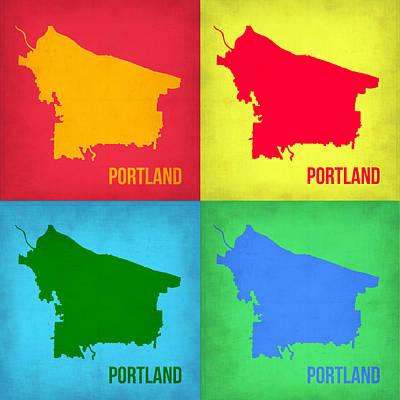 Portland Pop Art Map 1 Poster by Naxart Studio