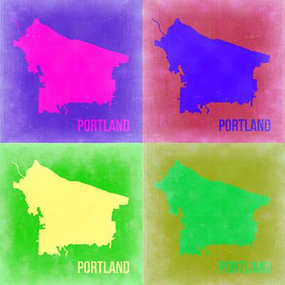 Portland Pop Art Map 2 Poster by Naxart Studio