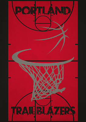 Portland Trail Blazers Court Poster by Joe Hamilton