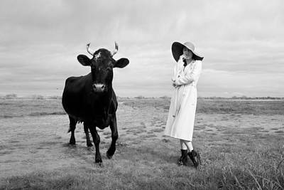 Portrait Bw Cow And Girl Poster
