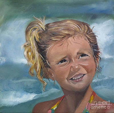 Poster featuring the painting Portrait - Emma - Beach by Jan Dappen
