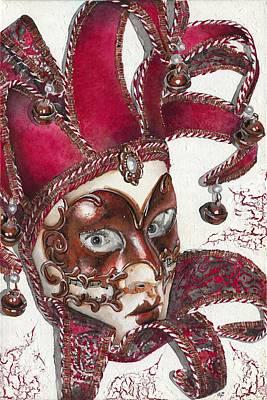 Portrait In Mask - Venetian Red - Venice - Elena Yakubovich Poster by Elena Yakubovich