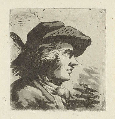 Portrait In Profile Of Man With Feathered Hat Poster