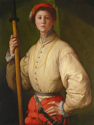 Portrait Of A Halberdier Poster by Jacopo Pontormo