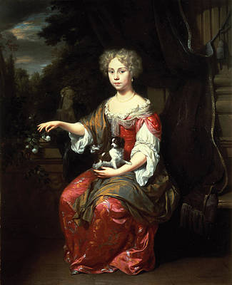 Portrait Of A Lady Holding Her Pet King Charles Spaniel Oil On Canvas Poster