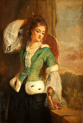 Portrait Of A Lady In A Green Jacket Poster