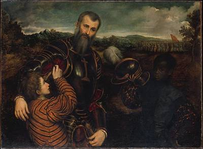 Portrait Of A Man In Armor With Two Poster by Paris Bordon