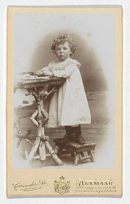 Portrait Of A Toddler With Curls At A Table Poster