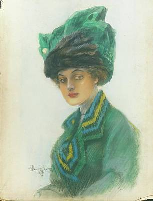 Portrait Of A Woman Wearing A Green Gown Poster by Stuart Travis