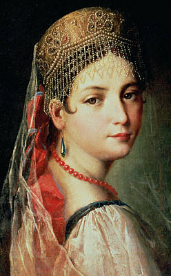 Portrait Of A Young Girl In Sarafan And Kokoshnik Poster