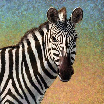 Portrait Of A Zebra - Square Poster by James W Johnson