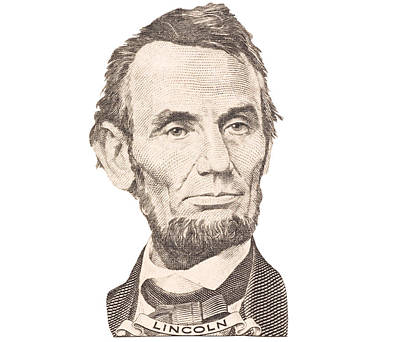 Portrait Of Abraham Lincoln On White Background Poster by Keith Webber Jr