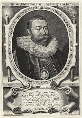 Portrait Of Abraham Van Der Meer At The Age Of 42 Poster by Willem Jacobsz. Delff And Gerardus Joannes Vossius