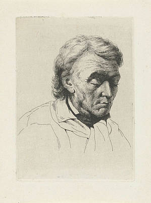 Portrait Of An Old Man With Closed Eyes, Jean Zacherie Mazel Poster