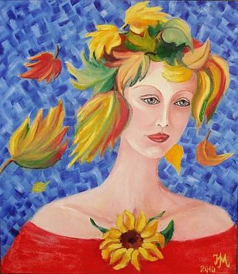 Portrait Of Autumn Poster by Nina Mitkova