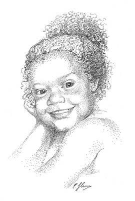Portrait Of Girl. Commission. Stippling In Black Ink Poster