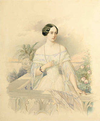 Portrait Of Grand Duchess Olga Nikolaevna Poster by Vladimir Ivanovich Hau
