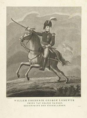 Portrait Of King William II On Horseback Poster by Antonie And Pieter Van Der Beek