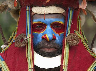 Portrait Of Kunkui Tribesman, Waghi Poster by Jeremy Hunter