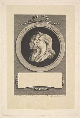 Portrait Of Louis Xvi, Henri Iv Poster by Augustin de Saint-Aubin