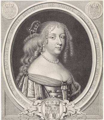 Portrait Of Maria Johanna Baptiste, Duchess Of Savoy Poster by Duchess Of Savoy And Pieter Van Schuppen