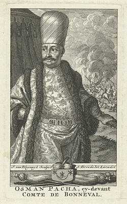 Portrait Of Osman Pascha As General Of Turkish Troops Poster by Johannes Broedelet