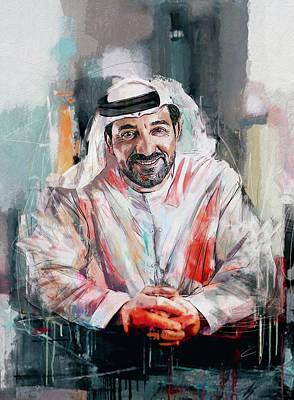 Portrait Of Sheikh Ahmed Bin Saeed Al Maktoum  Poster by Maryam Mughal