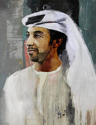 Portrait Of Sheikh Mansour Poster by Maryam Mughal