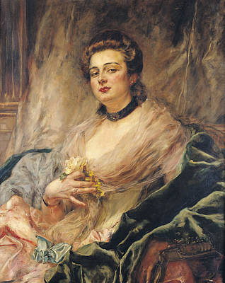 Portrait Of The Artists Wife Oil On Canvas Poster by Eduardo-Leon Garrido