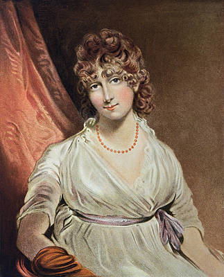 Portrait Of The Honourable Mrs. Bouverie Engraved By I.r Smith Fl.1800-30 Coloured Engraving Poster by John Hoppner