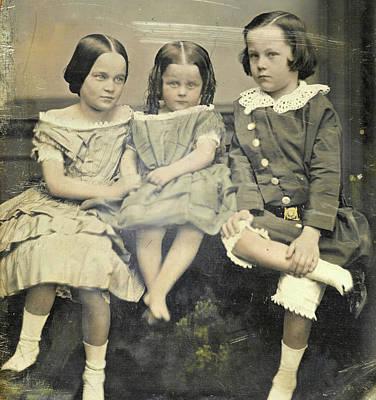Portrait Of Three Children, John Jabez Edwin Mayall Poster by Artokoloro