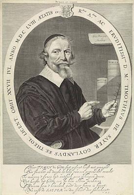 Portrait Of Timotheus De Sayer, Theodor Matham Poster by Theodor Matham