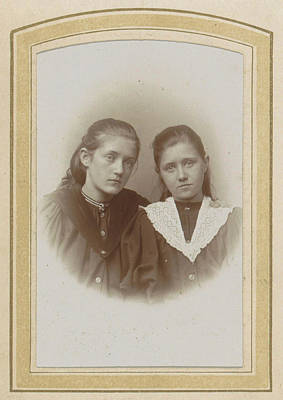 Portrait Of Two Girls With Long Hair, One With A Lace Cravat Poster